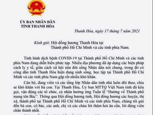 Chủ tịch Thanh Hóa gửi tâm thư sẵn sàng đón bà con trở về từ các tỉnh miền Nam