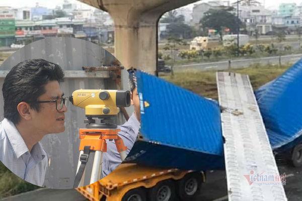 ti mi do cao do cau bo hanh bi xe container keo sap o sai gon