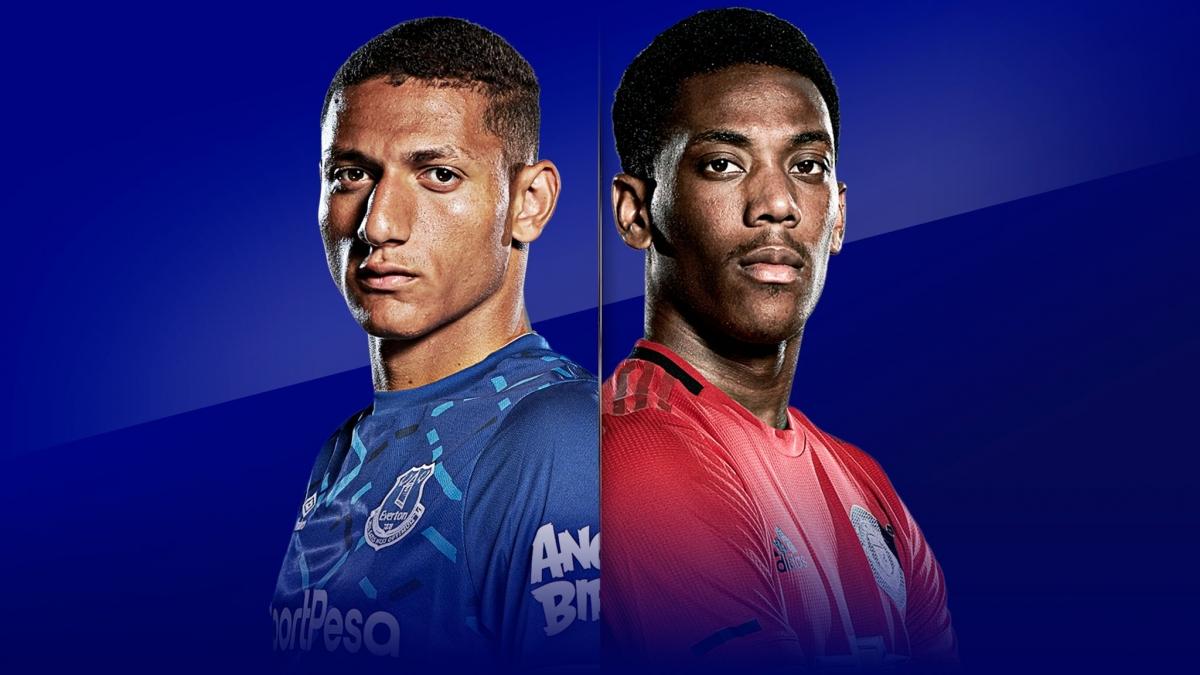 Everton đang đứng thứ 4 với 13 điểm, MU đang đứng thứ 15 với 7 điểm. (Ảnh: Sky Sports)