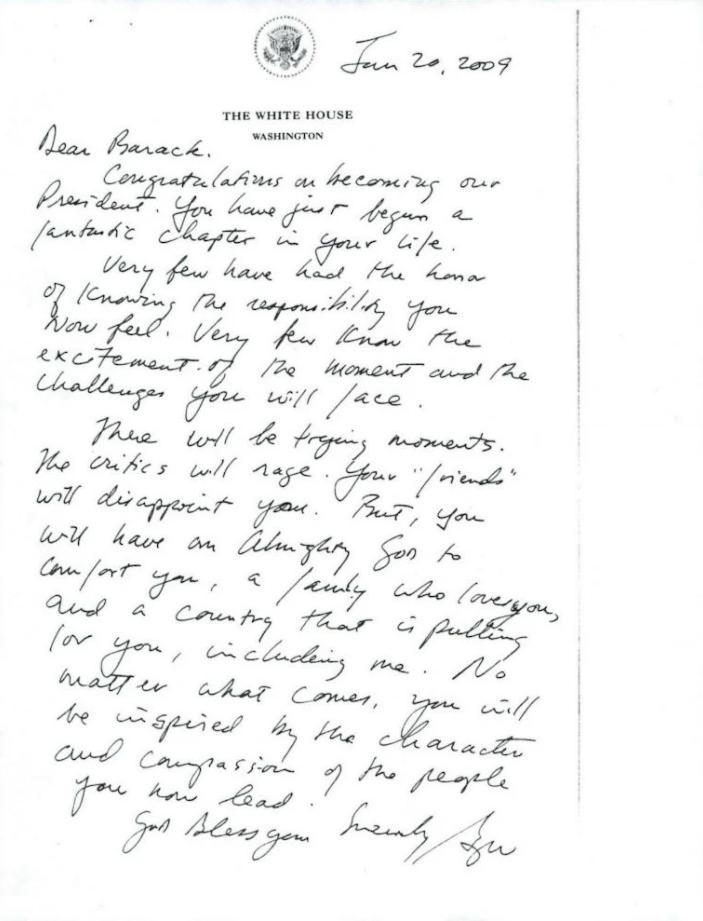 Những lá thư chuyển giao quyền lực hòa bình của các đời tổng thống trước - Ảnh 3