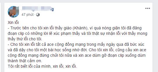 xuc pham thay giao vi chiec quan short cua con gai nu phu huynh xin loi tren facebook